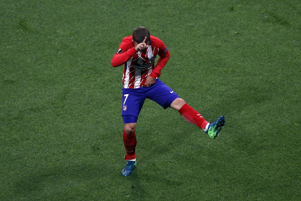 Atletico's Antoine Griezmann's celebrates his side opening goal during the Europa League Final soccer match between Marseille and Atletico Madrid at t