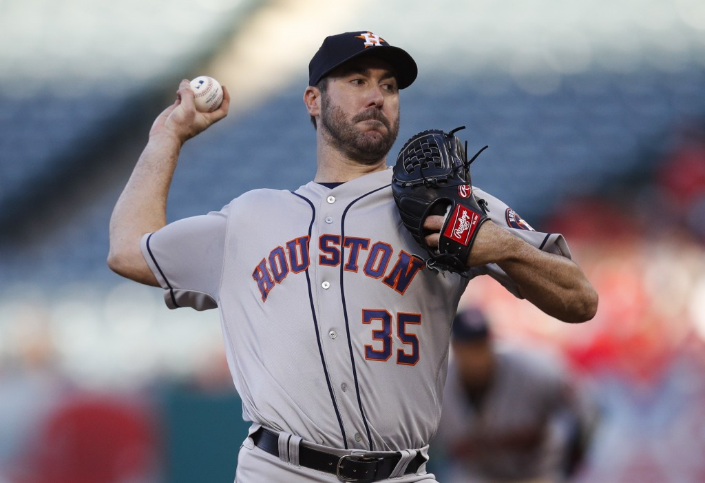 Houston Astros starting pitcher Justin Verlander throws to a Los Angeles Angels batter during the first inning of a baseball game Wednesday, May 16, 2...