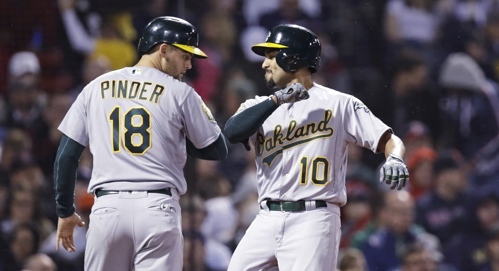 Oakland Athletics' Marcus Semien (10) is congratulated by Chad Pinder after his two-run home run off Boston Red Sox starting pitcher Chris Sale during