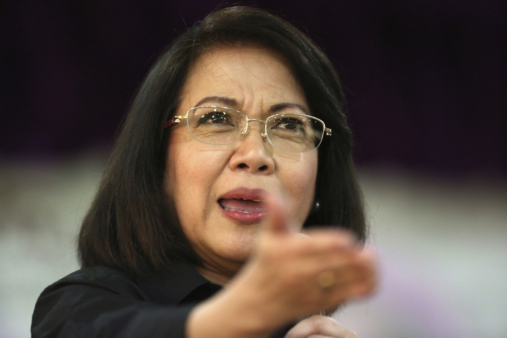Ousted Philippine Supreme Court Chief Justice Maria Lourdes Sereno speaks during a forum at the Integrated Bar of the Philippines in Pasig, metropolit