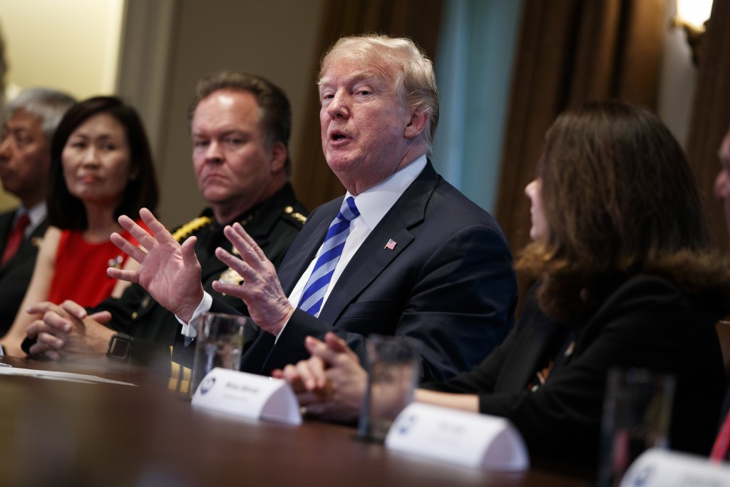 President Donald Trump speaks during a roundtable on immigration policy in California in the Cabinet Room of the White House, Wednesday, May 16, 2018,