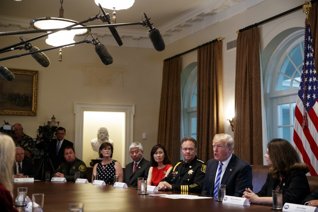 President Donald Trump speaks during a roundtable on immigration policy in California, in the Cabinet Room of the White House, Wednesday, May 16, 2018