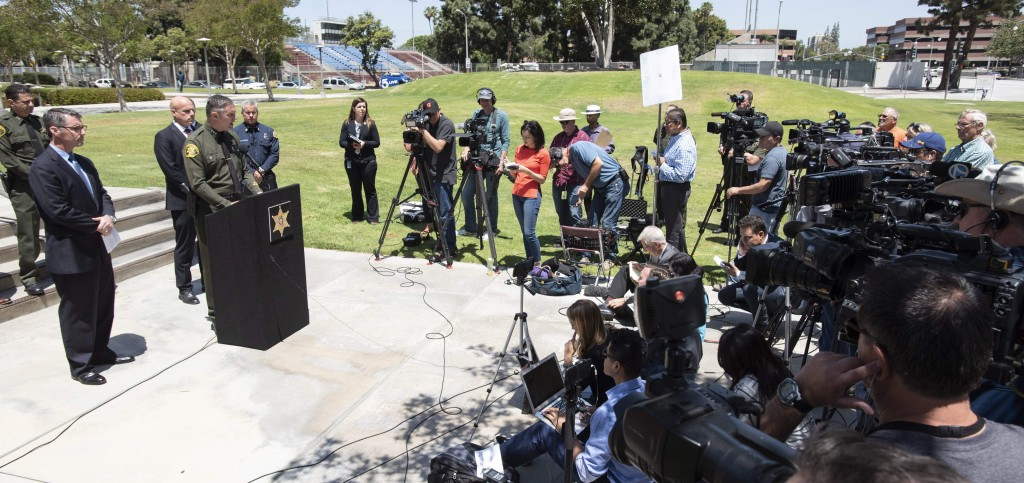 Orange County Undersheriff Don Barnes speaks to the media on Wednesday, May 16, 2018, in Santa Ana, Calif., regarding a fatal explosion at an Aliso Vi