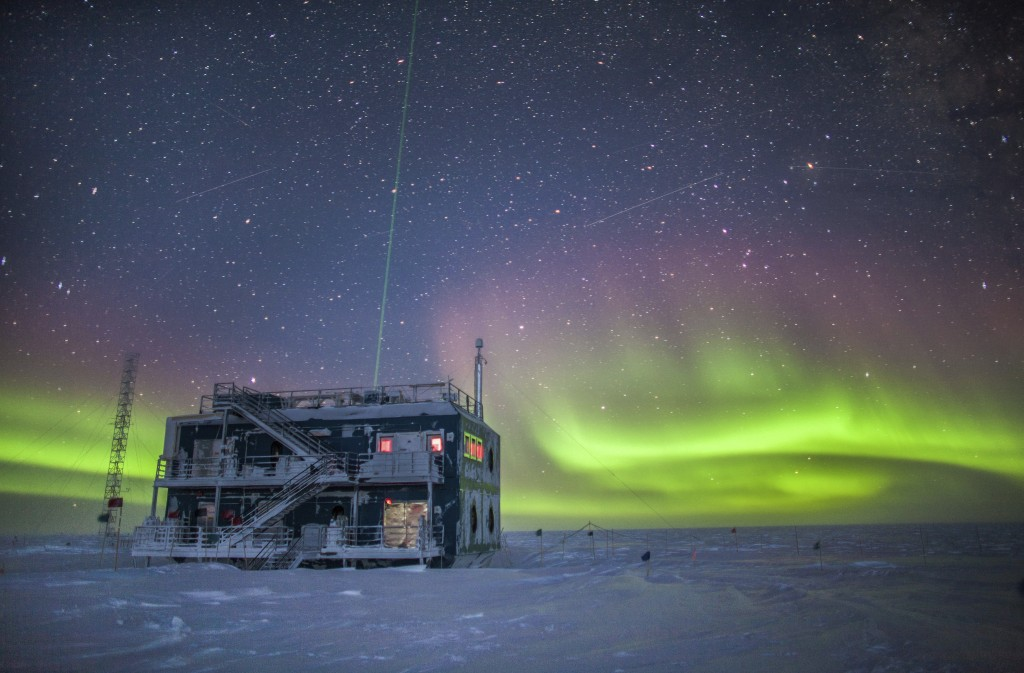 This undated photo provided by NOAA in May 2018 shows aurora australis near the South Pole Atmospheric Research Observatory in Antarctica. When a hole