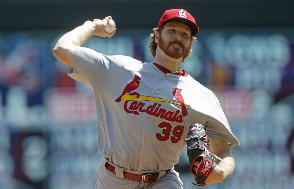 St. Louis Cardinals pitcher Miles Mikolas throws against the Minnesota Twins in the first inning of a baseball game Wednesday, May 16, 2018, in Minnea...