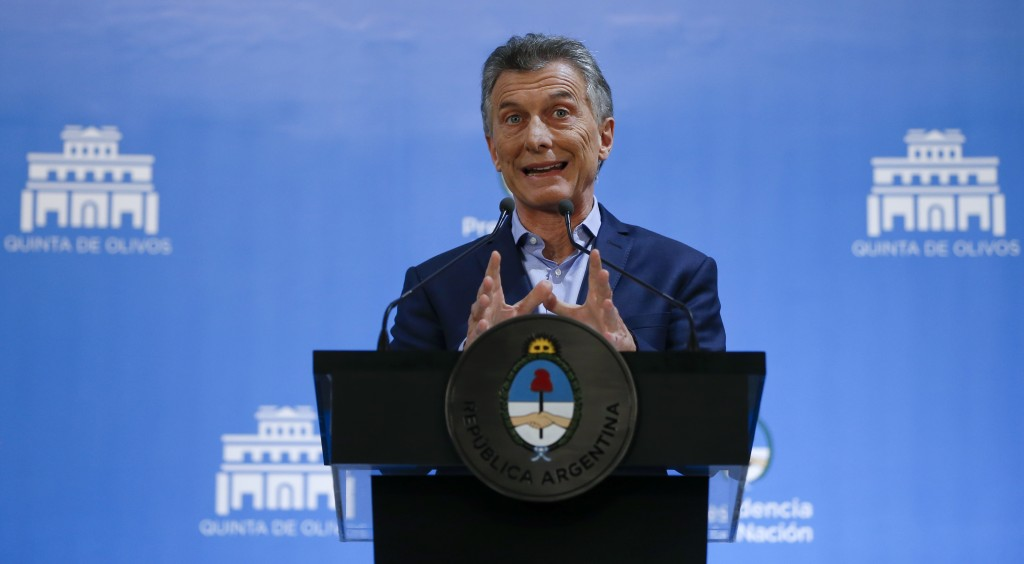 Argentina's President Mauricio Macri speaks at a press conference in Buenos Aires, Argentina, Wednesday, May 16, 2018. Investors gave a vote of confid