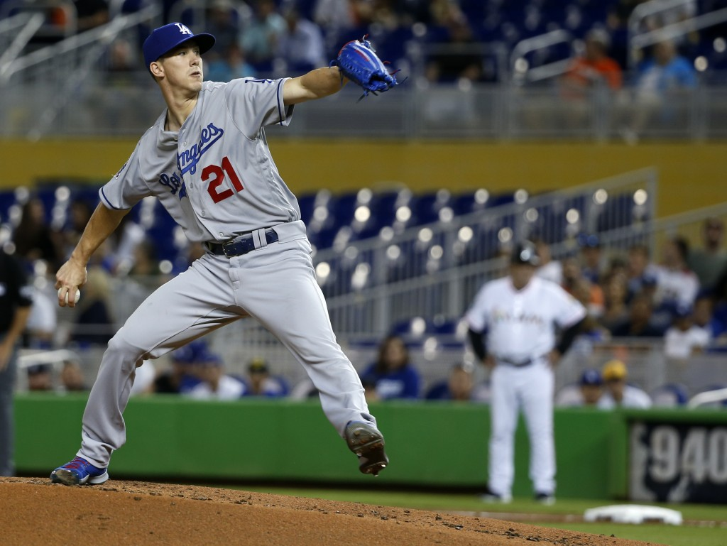 Los Angeles Dodgers' Walker Buehler winds up during the first inning of the team's baseball game against the Miami Marlins, Wednesday, May 16, 2018, i