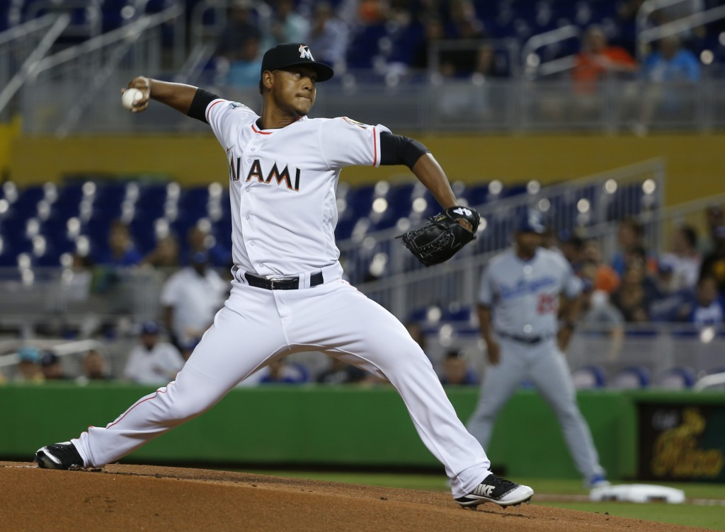 Miami Marlins' Elieser Hernandez delivers a pitch during the first inning of the team's baseball game against the Los Angeles Dodgers, Wednesday, May
