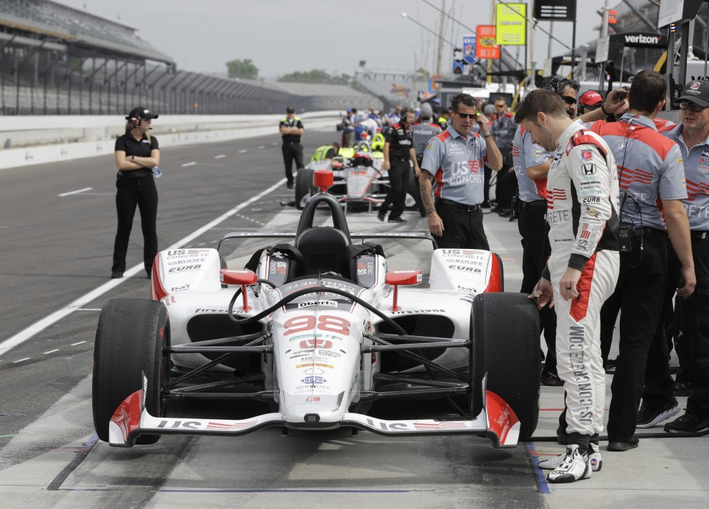Marco Andretti looks at his car during a practice session for the IndyCar Indianapolis 500 auto race at Indianapolis Motor Speedway in Indianapolis, W