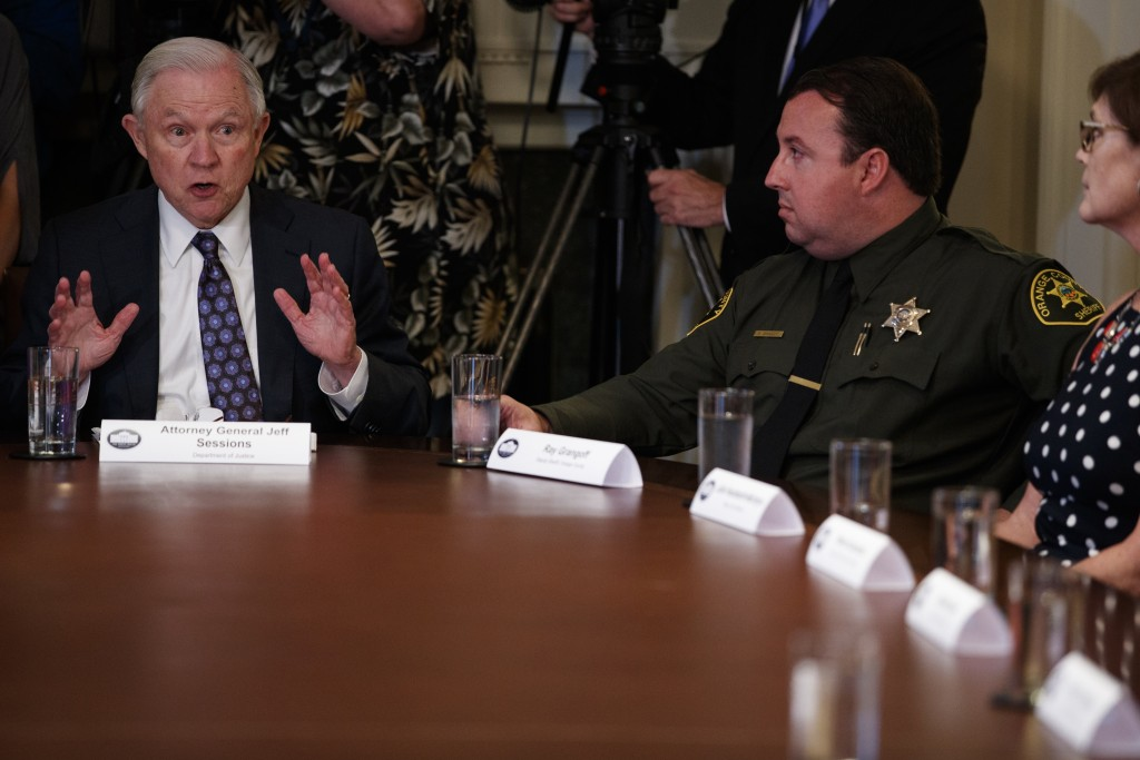 Attorney General Jeff Sessions speaks during a roundtable on immigration policy in California, in the Cabinet Room of the White House, Wednesday, May ...