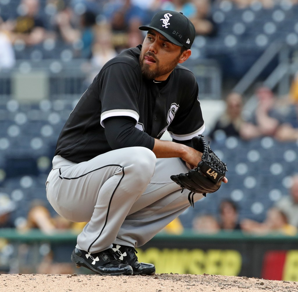 Chicago White Sox relief pitcher Joakim Soria collects himself on the mound during the seventh inning of a baseball game against the Pittsburgh Pirate