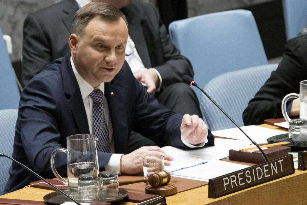 Polish President Andrzej Duda speaks during a Security Council meeting on international peace and security, Thursday, May 17, 2018 at United Nations h