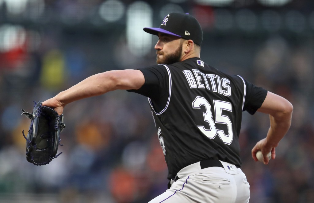 Colorado Rockies pitcher Chad Bettis works against the San Francisco Giants during the first inning of a baseball game Thursday, May 17, 2018, in San