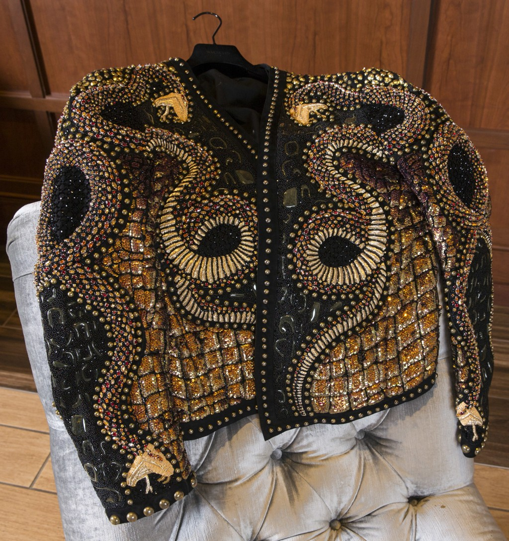 Houston Rockets' P.J. Tucker's most prized and expensive fashion possession is a $25,000 haute couture beaded Balmain jacket, shown Tuesday May 15, 20