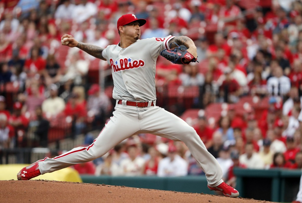 Philadelphia Phillies starting pitcher Vince Velasquez throws during the first inning of the team's baseball game against the St. Louis Cardinals on T