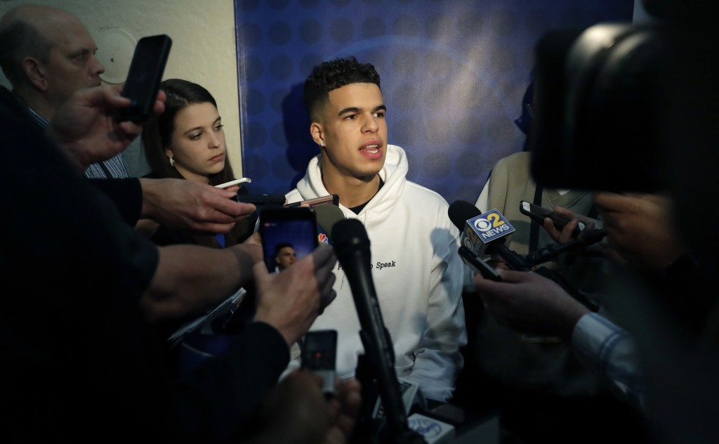Michael Porter Jr., from Missouri, speaks to reporters during the NBA draft basketball combine Thursday, May 17, 2018, in Chicago. (AP Photo/Charles R