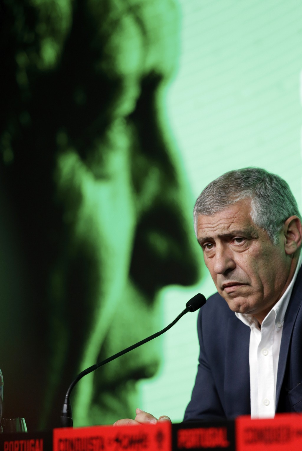Portugal coach Fernando Santos announces his World Cup squad, during a press conference, at the Portuguese federation headquarters in Oeiras, outside
