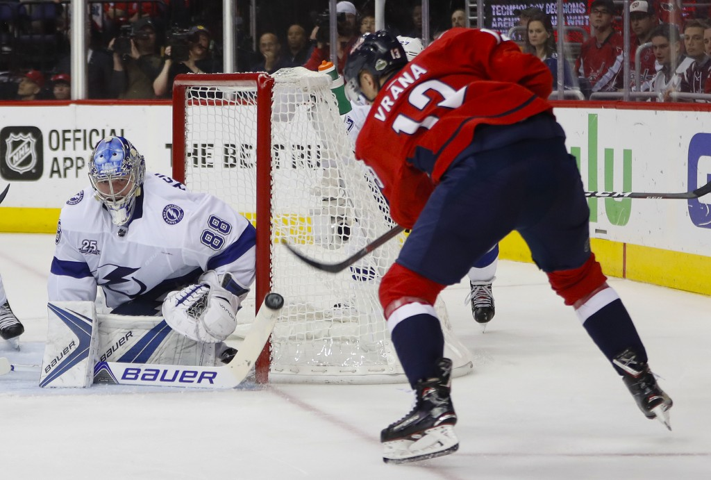 Tampa Bay Lightning goaltender Andrei Vasilevskiy (88) stops a shot by Washington Capitals left wing Jakub Vrana (13) during the second period of Game