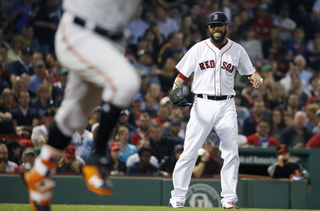 Boston Red Sox's David Price reacts after bobbling the ball on a single by Baltimore Orioles' Jonathan Schoop, left, during the fourth inning of a bas