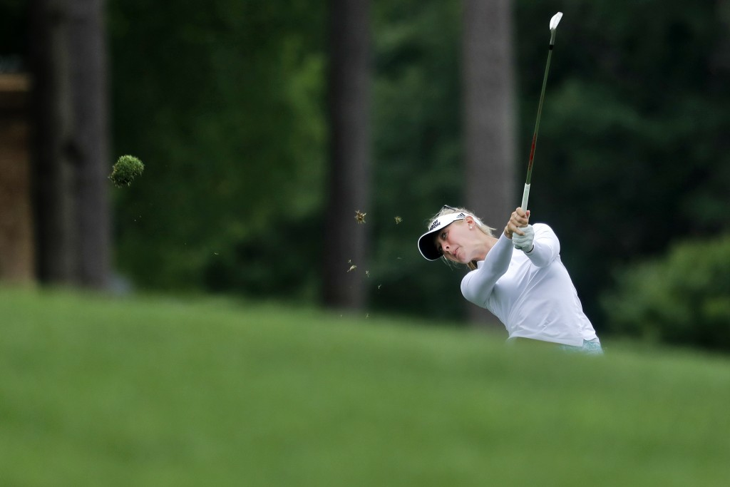 Jessica Korda hits on the 14th hole during the first round of the LPGA Tour's Kingsmill Championship golf tournament Thursday, May 17, 2018, in Willia