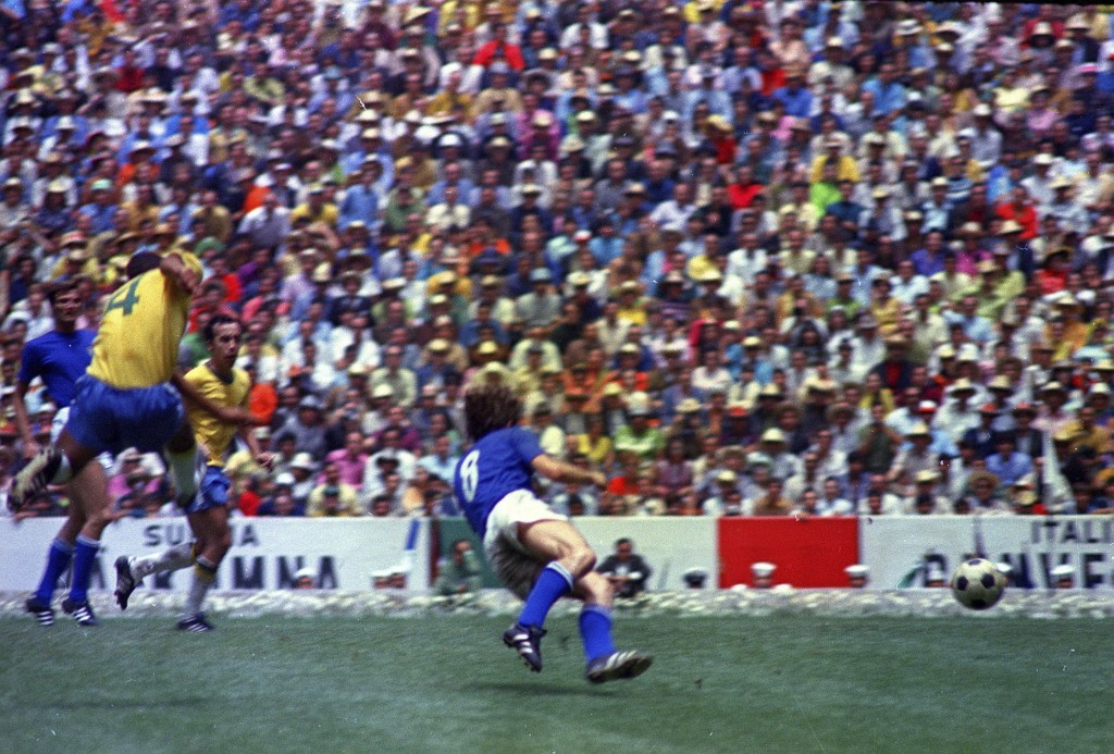 FILE - In this June 21, 1970 file photo, Brazil's captain Carlos Alberto scores his team's fourth goal against Italy in the World Cup Final, at the Az