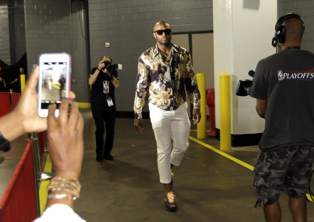 Houston Rockets' P.J. Tucker arrives for Game 2 of the team's NBA basketball Western Conference finals against the Golden State Warriors on Thursday,