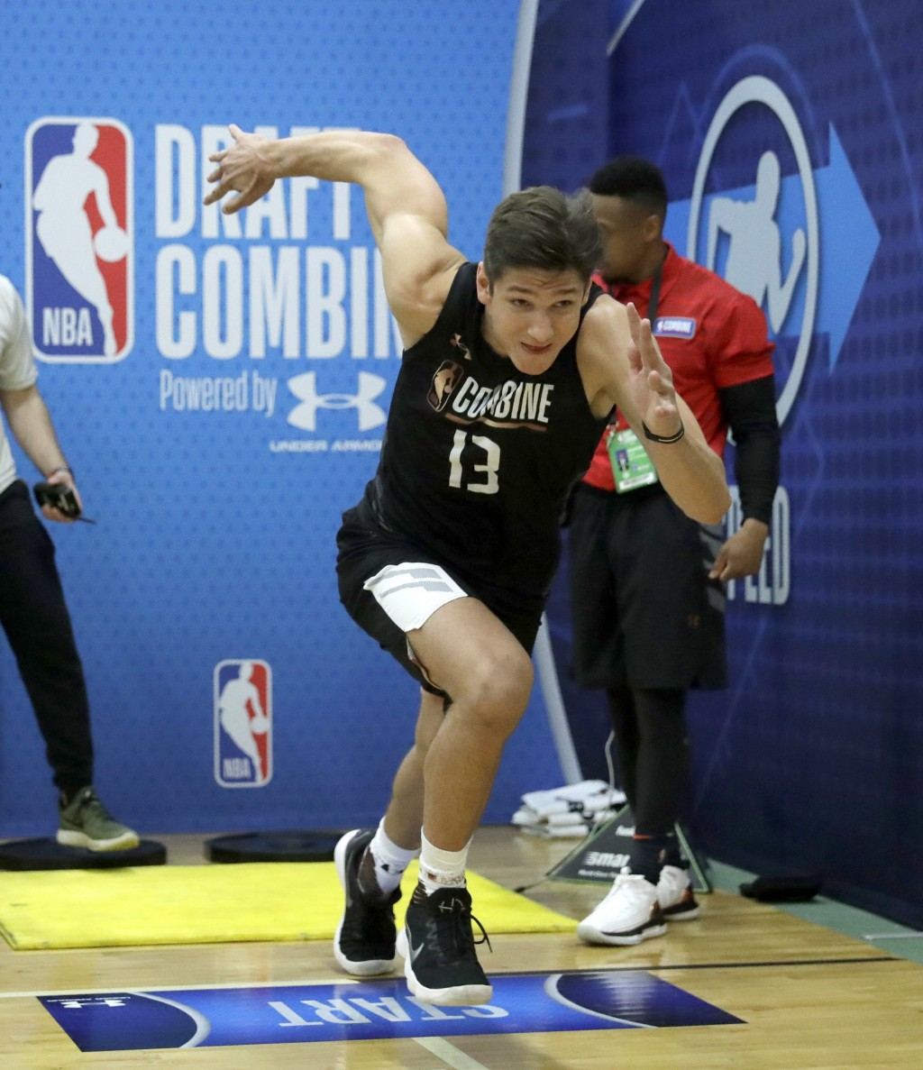 Grayson Allen, from Duke, participates in the NBA draft basketball combine Thursday, May 17, 2018, in Chicago. (AP Photo/Charles Rex Arbogast)