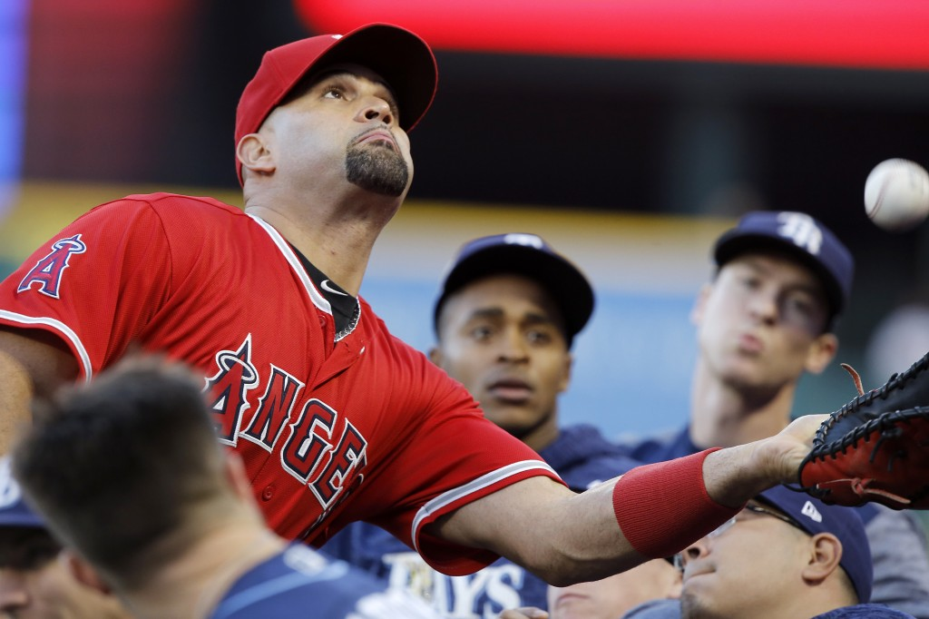 Los Angeles Angels first baseman Albert Pujols, left, reaches out to catch a fly ball in the Tampa Bay Rays dugout hit by Wilson Ramos during the firs