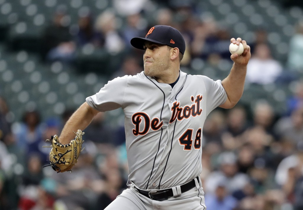 Detroit Tigers starting pitcher Matthew Boyd throws to a Seattle Mariners batter during the first inning of a baseball game Thursday, May 17, 2018, in
