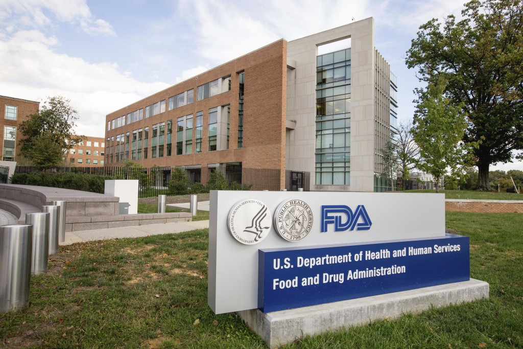 FILE- In this Oct. 14, 2015, the Food & Drug Administration (FDA) campus in Silver Spring, Md. U.S. drug regulators are publicizing information on bra