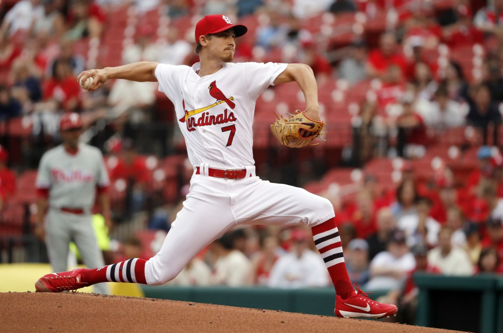 St. Louis Cardinals starting pitcher Luke Weaver throws during the first inning of the team's baseball game against the Philadelphia Phillies on Thurs