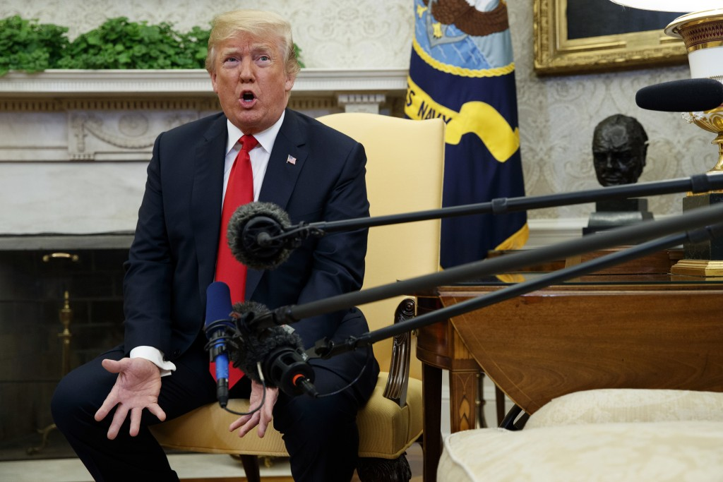 President Donald Trump speaks during a meeting with NATO Secretary General Jens Stoltenberg in the Oval Office of the White House, Thursday, May 17, 2