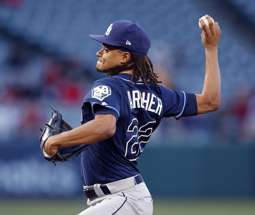 Tampa Bay Rays starting pitcher Chris Archer throws to a Los Angeles Angels batter during the first inning of a baseball game in Anaheim, Calif., Thur