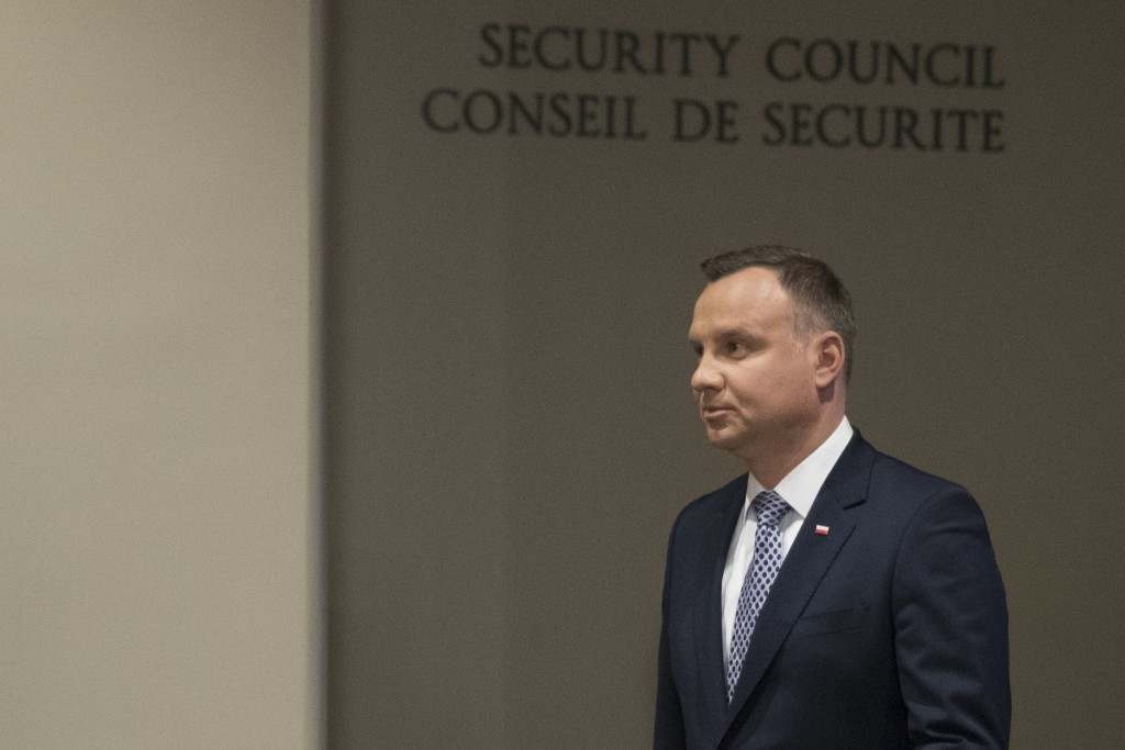 Polish President Andrzej Duda arrives to speak to reporters after presiding over a Security Council meeting, Thursday, May 17, 2018 at United Nations