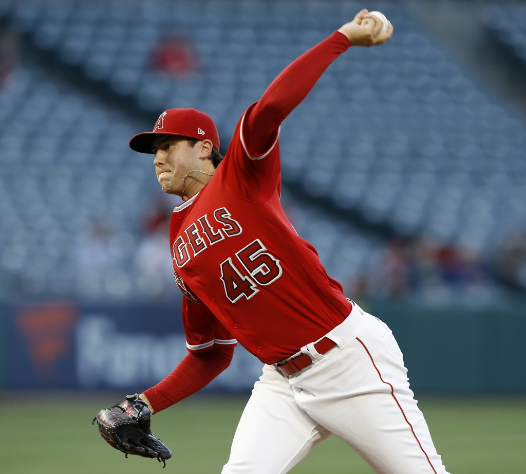 Los Angeles Angels starting pitcher Tyler Skaggs throws to a Tampa Bay Rays batter during the first inning of a baseball game in Anaheim, Calif., Thur
