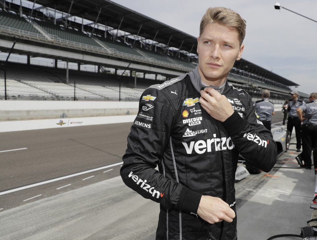 Josef Newgarden prepares to drive during a practice session for the IndyCar Indianapolis 500 auto race at Indianapolis Motor Speedway in Indianapolis,