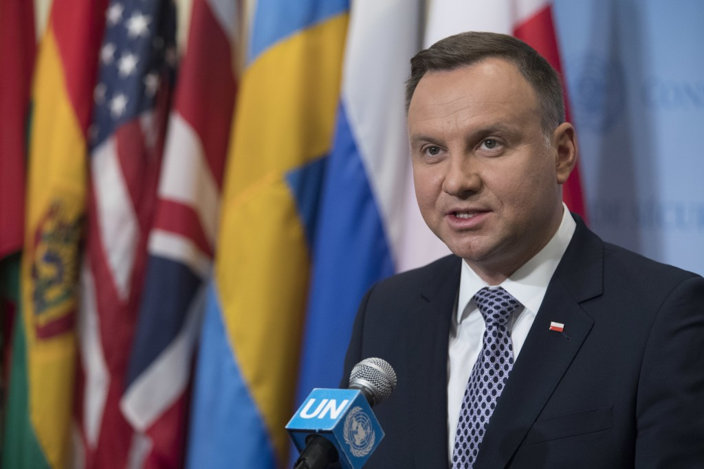Polish President Andrzej Duda speaks to reporters, Thursday, May 17, 2018 at United Nations headquarters. (AP Photo/Mary Altaffer)