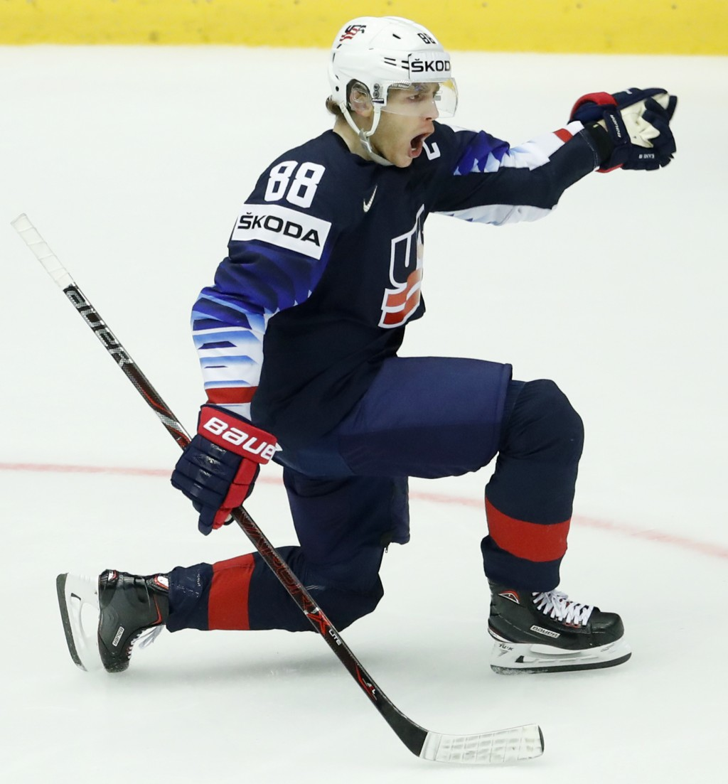 Patrick Kane of the United States celebrates after scoring his sides third goal during the Ice Hockey World Championships quarterfinal match between t