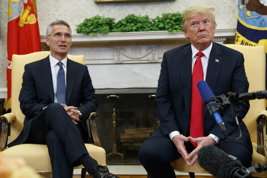 President Donald Trump meets with NATO Secretary General Jens Stoltenberg in the Oval Office of the White House, Thursday, May 17, 2018, in Washington