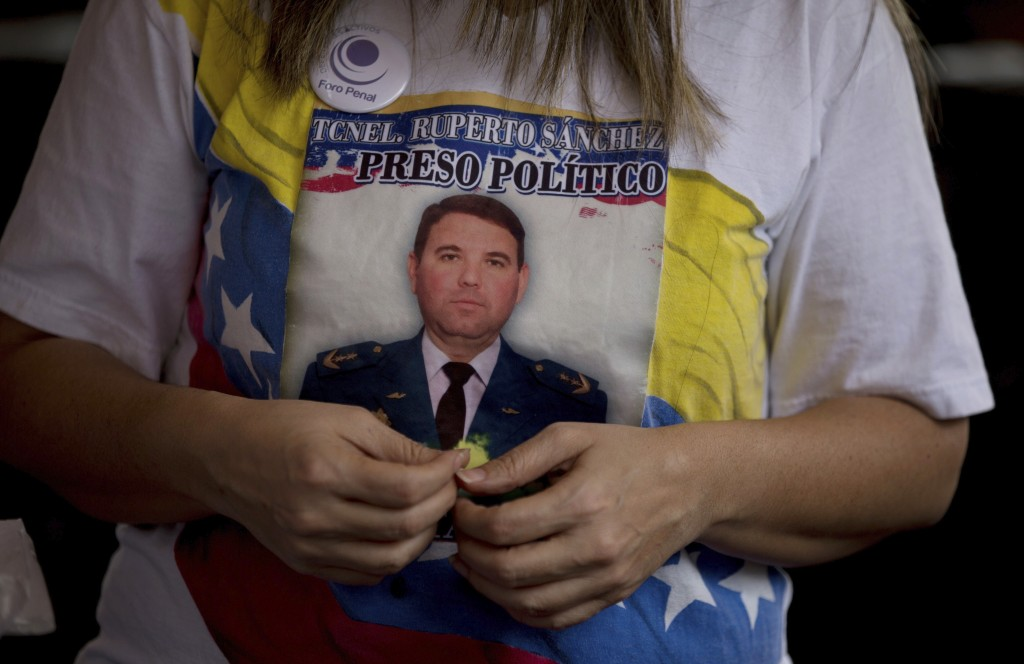 In this Feb. 22, 2018 photo, Air Force Lieutenant Colonel Ruperto Sanchez, who was arrested for alleged conspiracy against Venezuela's President Nicol