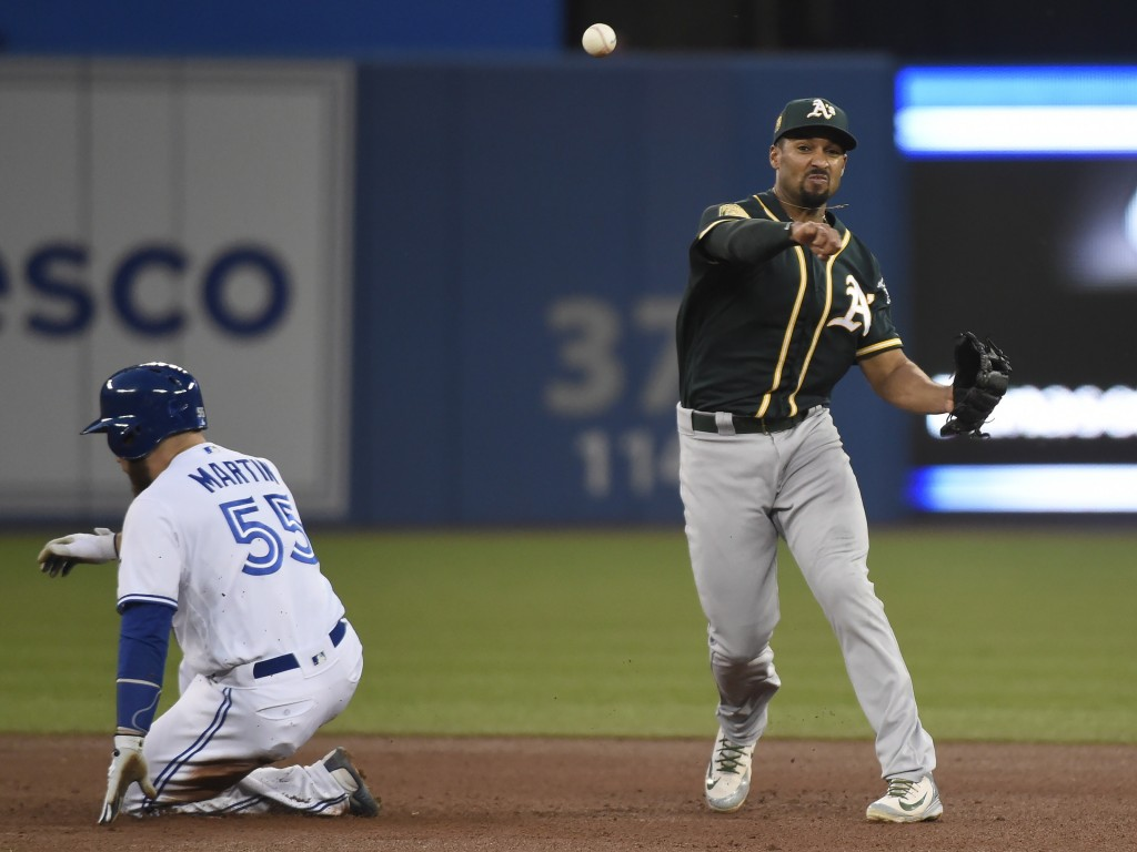 Toronto Blue Jays' Russell Martin (55) is out at second as Oakland Athletics shortstop Marcus Semien (10) makes the throw to first for the out on Kend