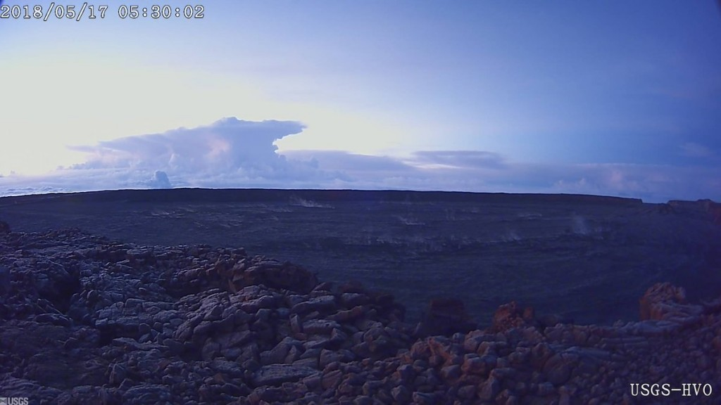 This photo provided by U.S. Geological Survey shows the ash plume at the Kīlauea Volcano, taken from a Mauna Loa webcam on Thursday, May 17, 2018 in H