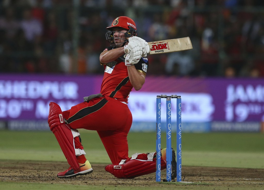 Royal Challengers Bangalore's AB de Villiers watches his shot during the VIVO IPL Twenty20 cricket match against Sunrisers Hyderabad in Bangalore, Ind