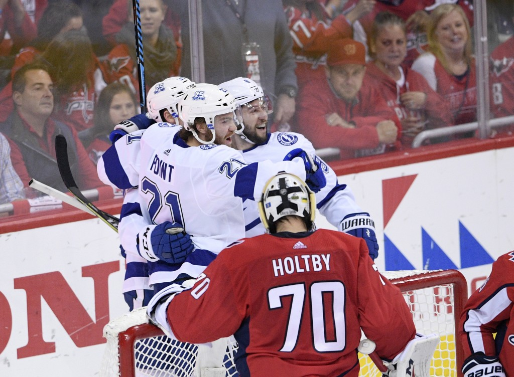 Tampa Bay Lightning center Brayden Point (21) celebrates his goal with center Tyler Johnson (9) next to Washington Capitals goaltender Braden Holtby (