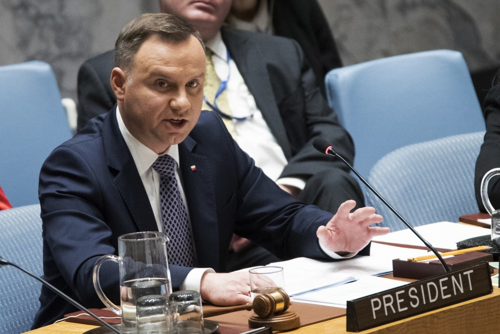 Polish President Andrzej Duda speaks during a Security Council meeting on international peace and security, Thursday, May 17, 2018, at United Nations
