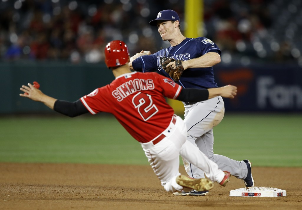 Tampa Bay Rays second baseman Joey Wendle, right, relays to first after forcing out Los Angeles Angels' Andrelton Simmons, left, to get Ian Kinsler fo