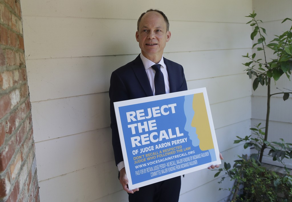 In this May 15, 2018 photo, Judge Aaron Persky poses for photos while being interviewed in Los Altos Hills, Calif. Persky says he would handle the sex