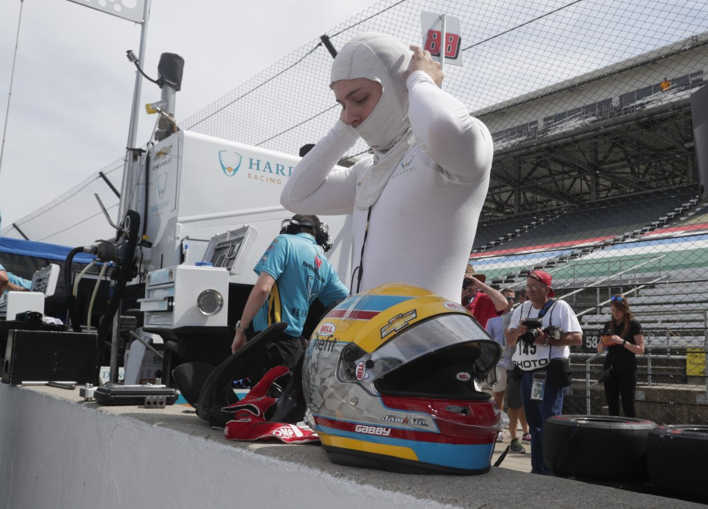 Gabby Chaves, of Colombia, prepares to drive during a practice session for the IndyCar Indianapolis 500 auto race at Indianapolis Motor Speedway in In