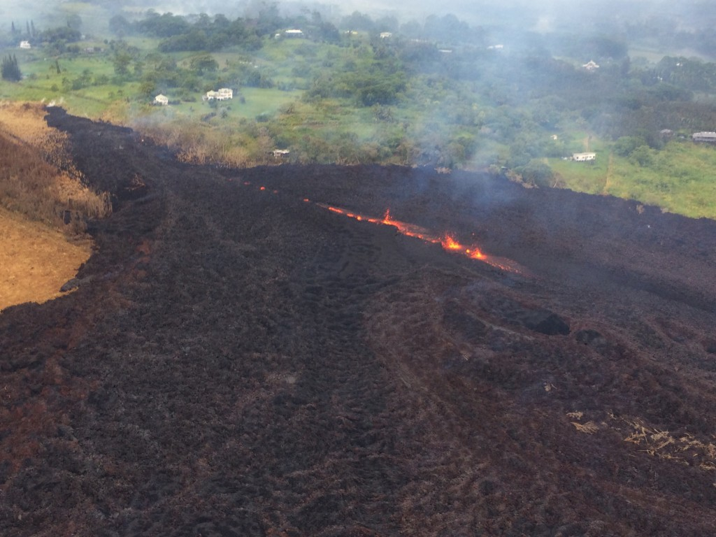 This Thursday, May 17, 2018, aerial image released by the U.S. Geological Survey, shows Fissure 17 at about 07:00 a.m. HST., in Pahoa, Hawaii. The HVO