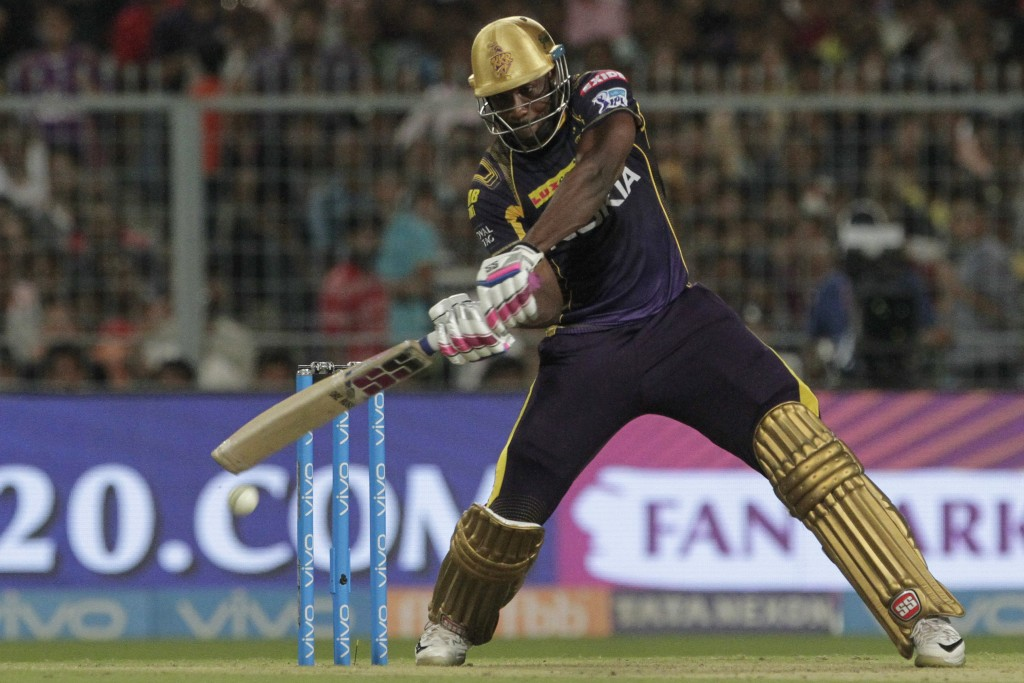 Kolkata Knight Riders' Andre Russell bats during the VIVO IPL cricket T20 match against Rajasthan Royals in Kolkata, India, Wednesday, May 23, 2018. (